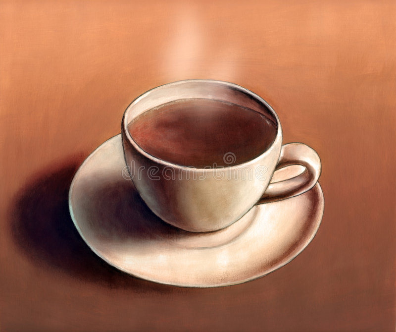 Hot coffee. A cup of hot coffee. My original hand painted illustration
