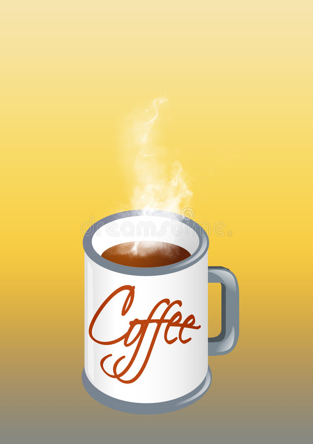 Hot coffee. Cup in gradient background vector illustration