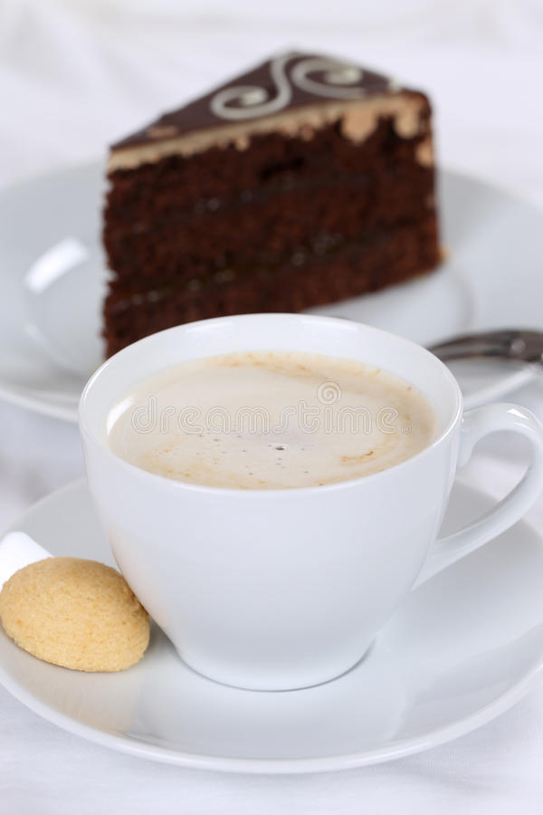 Hot coffee and cake chocolate tart dessert. Sweet pastry stock image