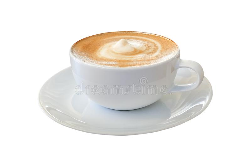 Hot coffee cappuccino latte in white cup with stirred spiral mil royalty free stock images