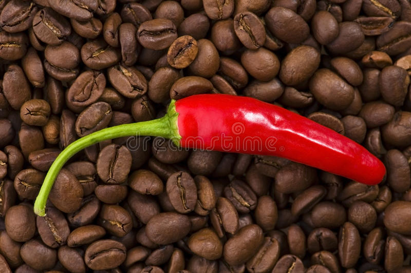 Hot coffee with chili stock image