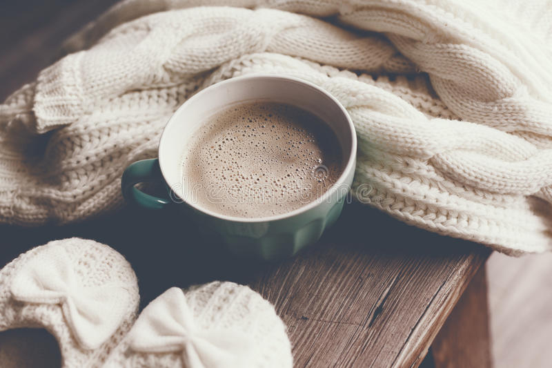 Hot Coffee At Cold Winter Morning Stock Photo - Image of