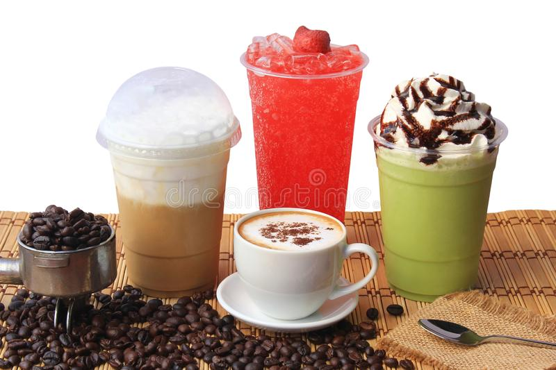 Hot coffee cup with coffee beans on the wooden table, Cold coffee, Iced matcha green tea and fruit soda for summer drink stock images