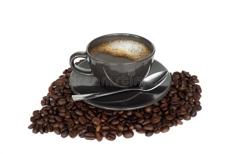 Hot coffee cup. Isolated on a white background stock photo