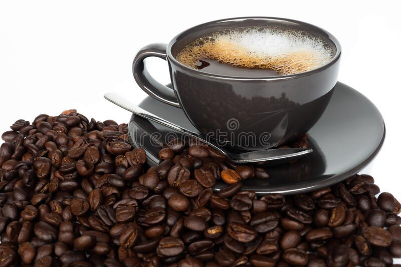 Hot coffee cup. Isolated on a white background royalty free stock images