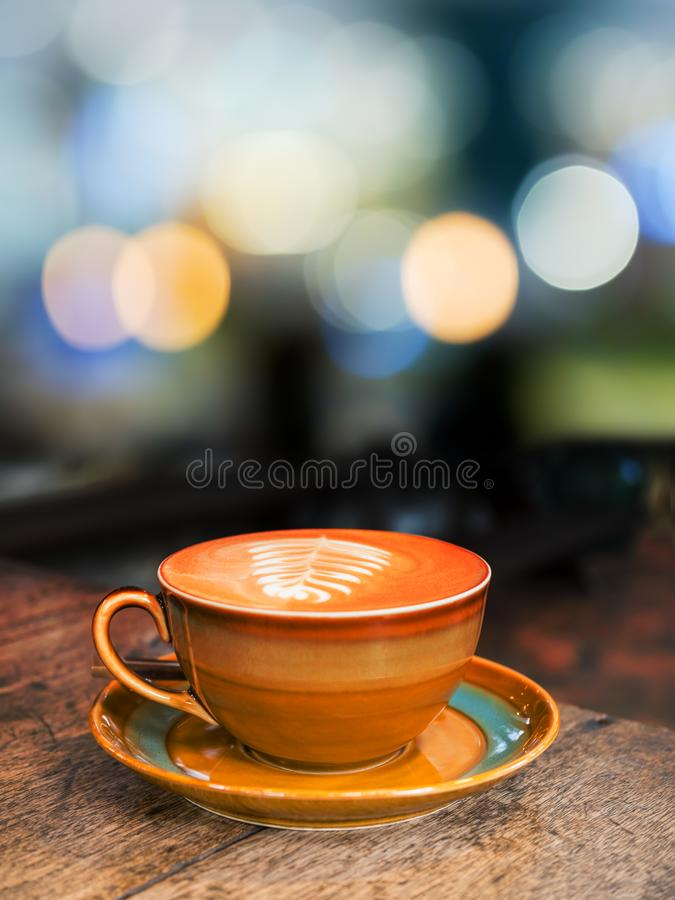 Hot coffee cup on old wood table background royalty free stock photos