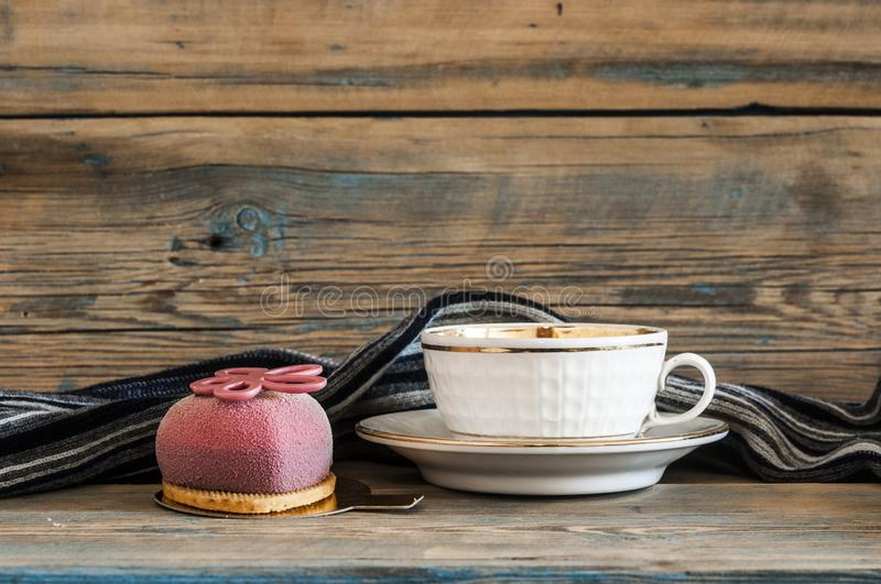 Cupcake on wooden table. stock images