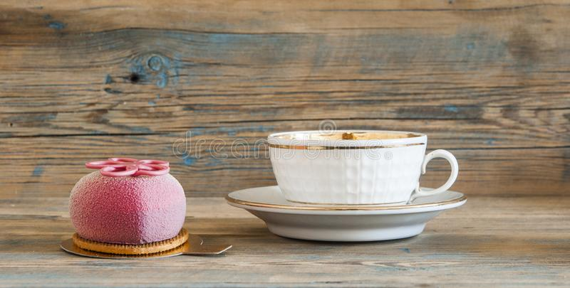 Cupcake on wooden table. stock photo