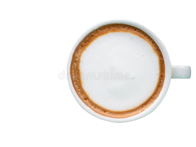 Hot coffee with foam milk. stock images