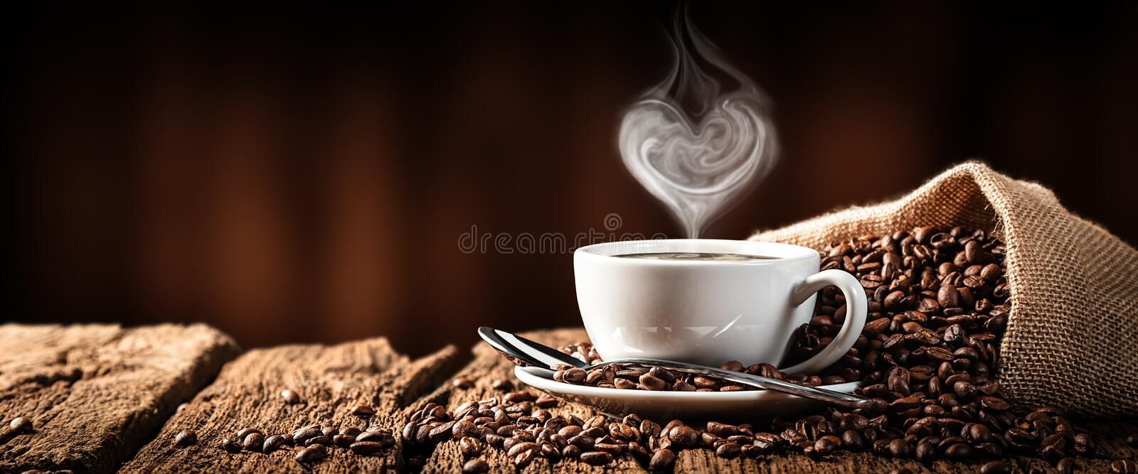 Hot Coffee With Heart Shaped Steam stock image