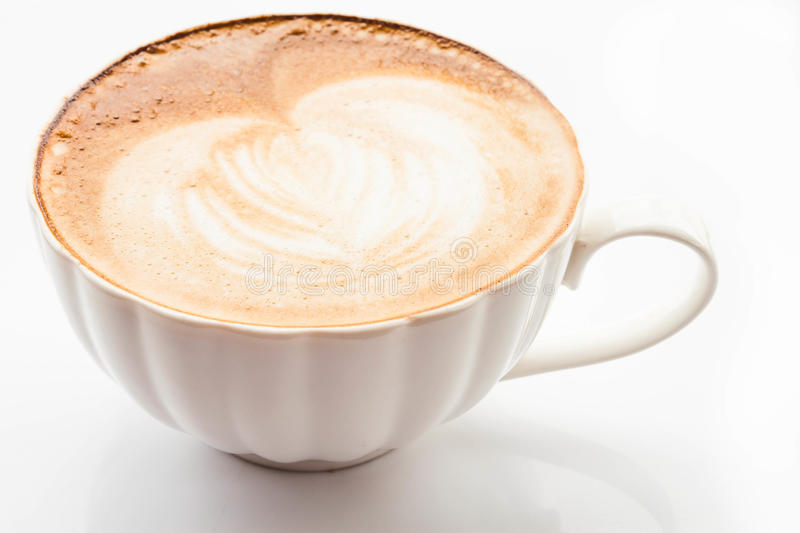 Hot coffee latte cup isolated on white. Background stock image
