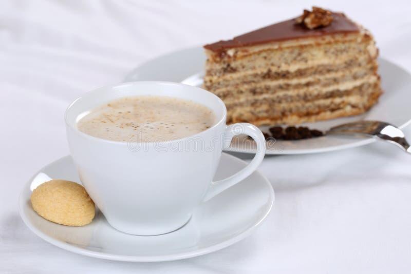 Hot coffee and nut cake tart dessert. Hot fresh coffee and nut cake tart dessert sweet pastry stock image