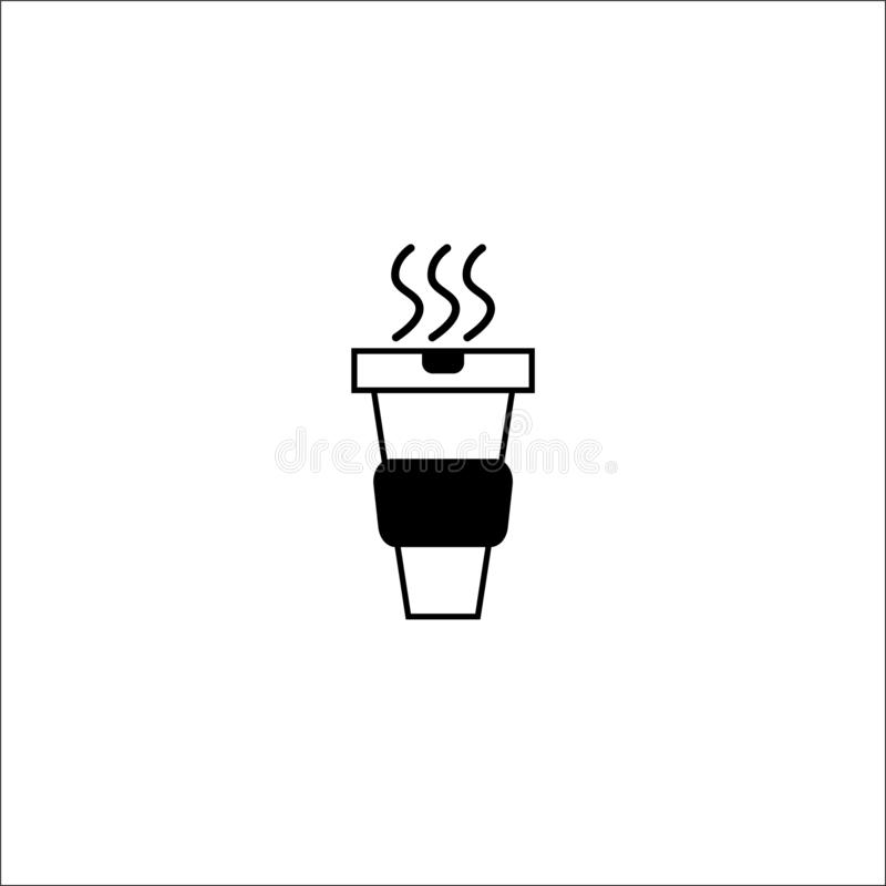 Hot coffee paper cup icon black thin line - vector illustration royalty free illustration