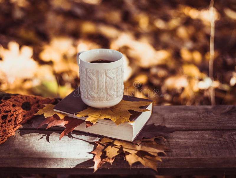 Hot coffee and red book with autumn leaves on wood background - seasonal relax concept.  royalty free stock photos