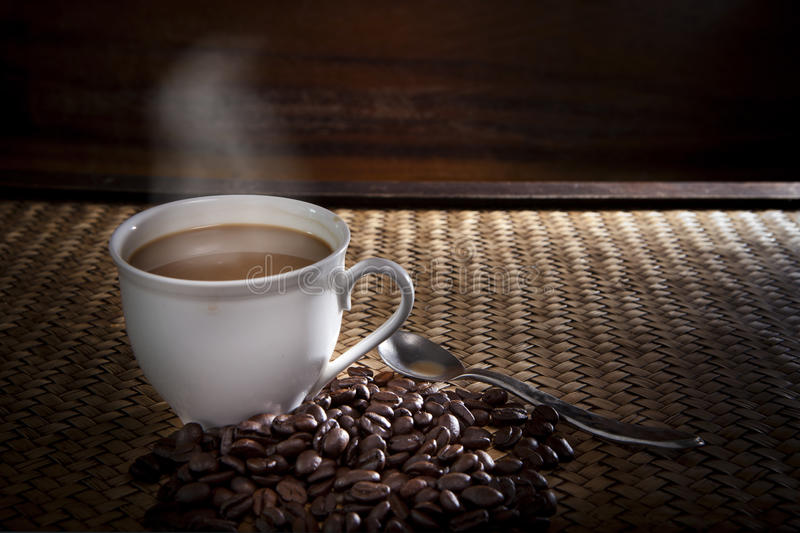 Download Hot Coffee And Roast Bean On Wood Stock Photo - Image: 29909900