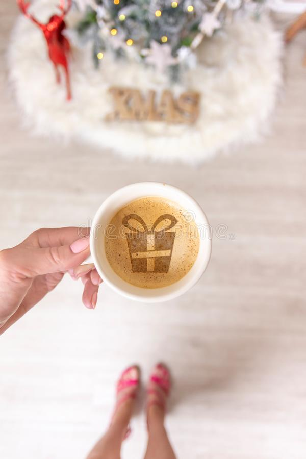 Hot coffee or spiced chai latte at Christmas time stock image
