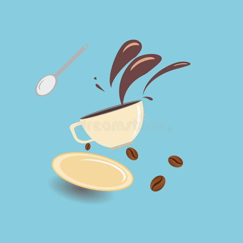 Hot coffee spilled out of the cup with coffee beans ,illustration stock illustration
