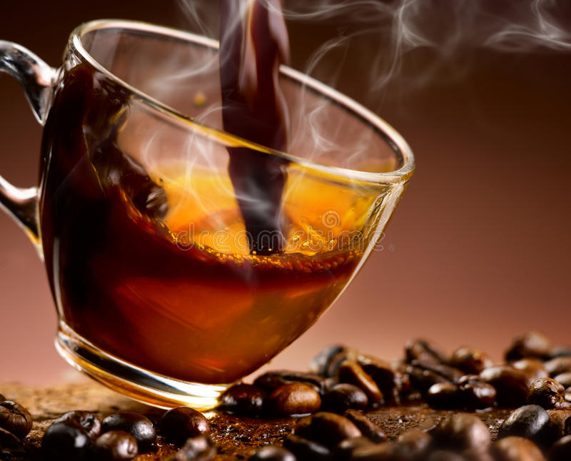 Download Hot Coffee 'steaming Poured Into A Cup Stock Image - Image of blend, cream: 39506509