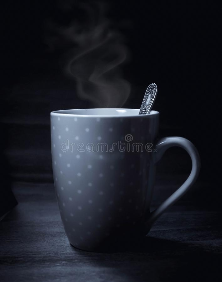 Hot coffee or tea cup black white photo royalty free stock image