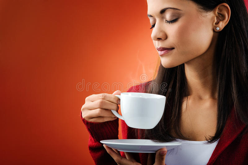 Hot coffee woman royalty free stock photography