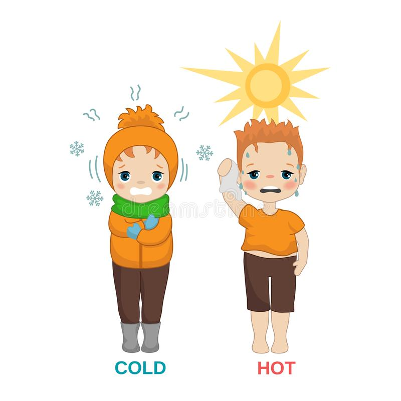 Hot and cold boy. Kid in hot and cold weather. Cartoon style illustration isolated on white background royalty free illustration