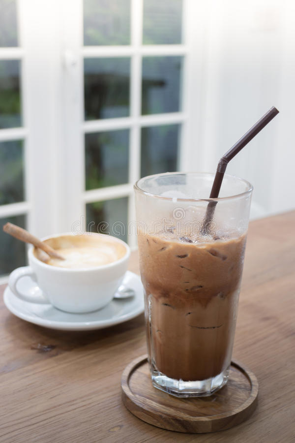 Hot And Cold Coffee Drink stock images