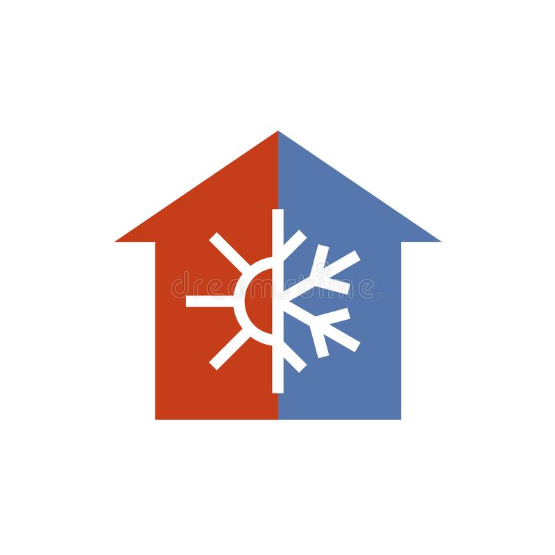 Hot and cold house silhouette sign. stock illustration