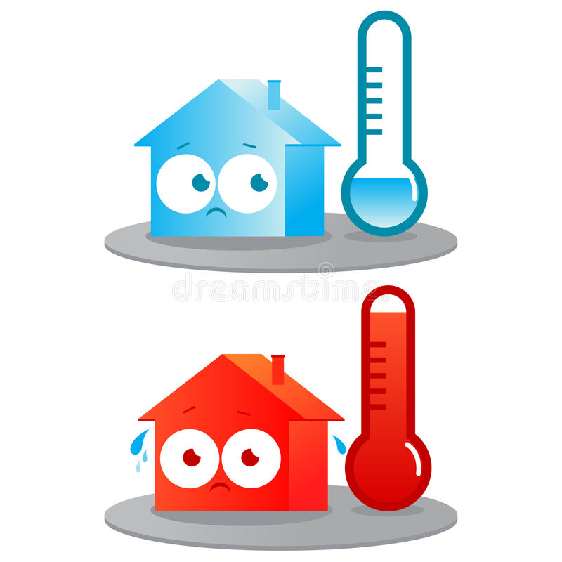 Hot and cold house. A very hot and cold house. Badly insulated buildings in extreme temperatures stock illustration