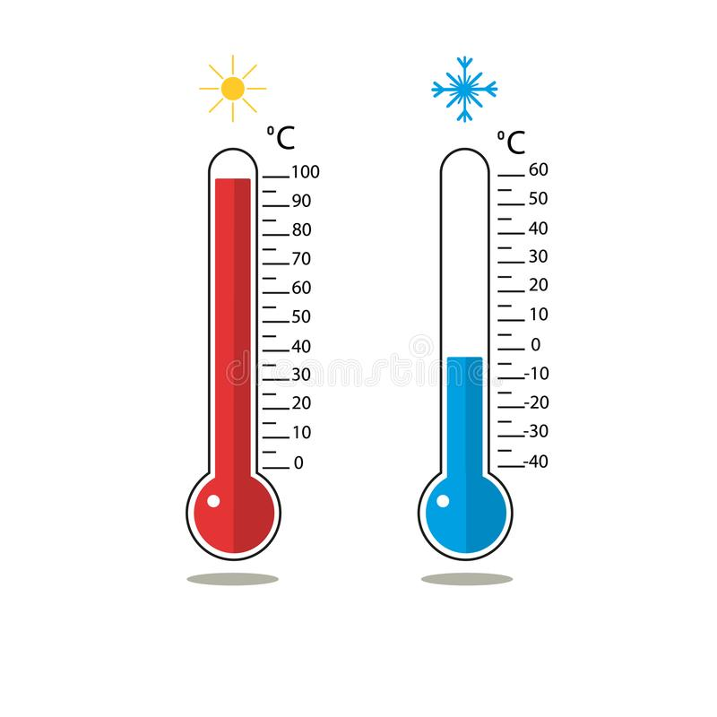 Hot and cold temperature on celsius. Blue and red thermometer. royalty free illustration