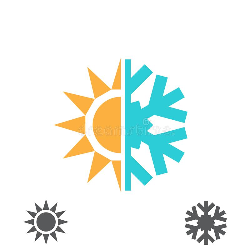 Hot and cold icon. Hot and cold vector illustration. Sun and snowflake icon isolated on white stock illustration