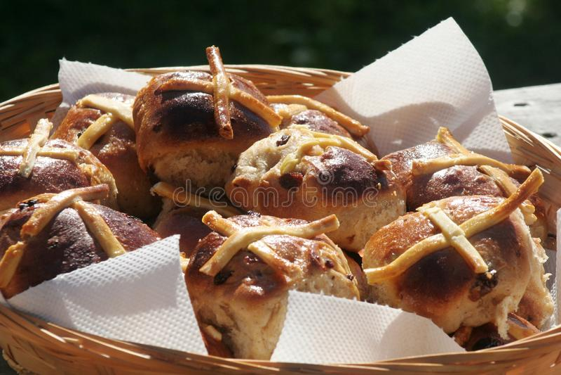 Hot cross buns royalty free stock photos