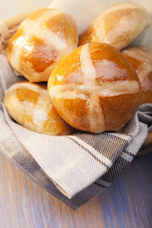 Download Hot Cross Buns On Basket Top View, Copy Space. Easter Baking Stock Image - Image of easter, brown: 113616831