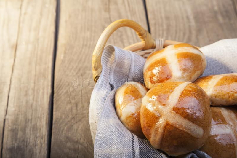 Download Hot Cross Buns On Basket Top View, Copy Space. Easter Baking Stock Image - Image of brown, fresh: 113616877