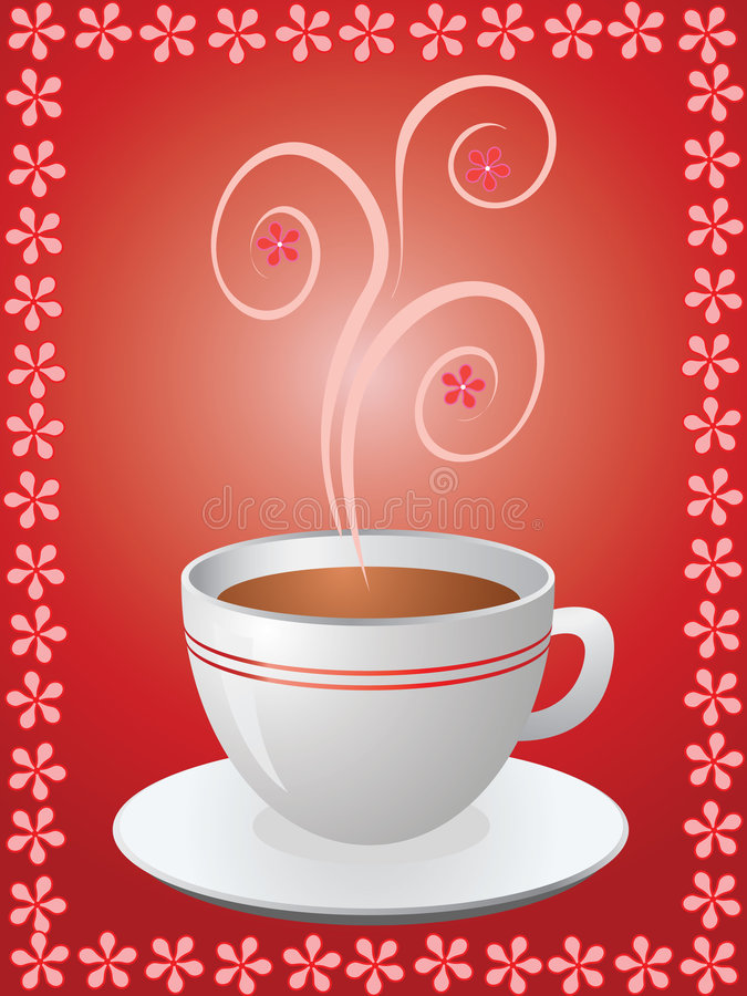 Hot cup of coffee in flowers frame stock photography