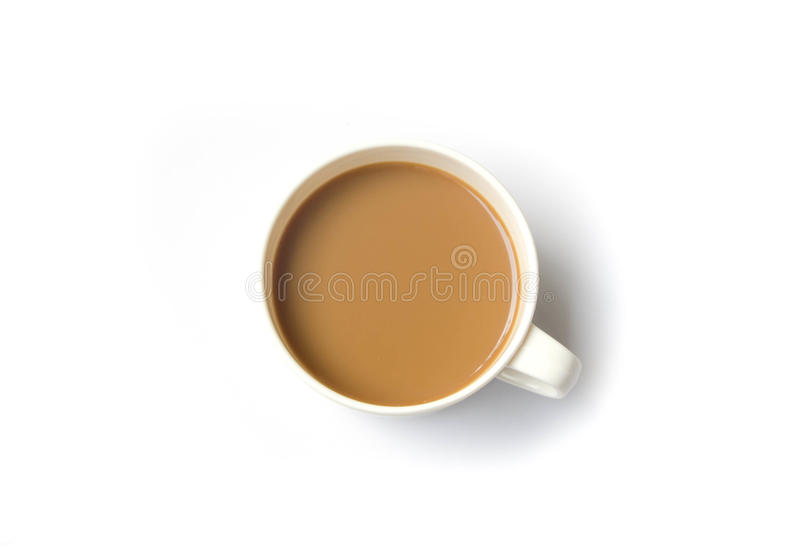 Hot Cup of Coffee Isolated on White Background stock photography
