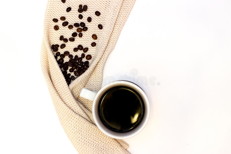 Hot cup of coffee or tea with pullover stock image