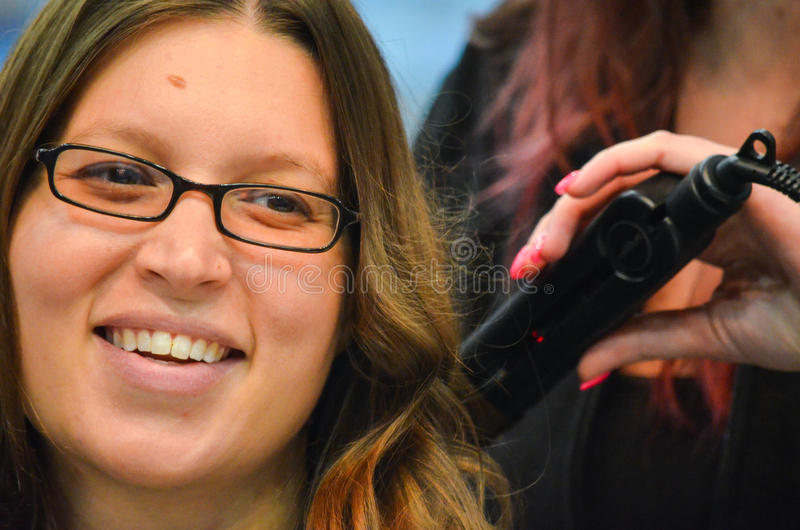 Download Hot Curling Iron Demo stock image. Image of glasses, hair - 39508811