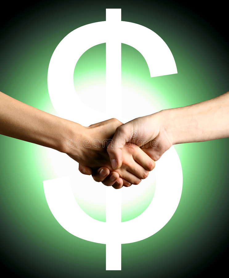 Hot deal. Handshake green dollars have a realy hot deal royalty free stock photography