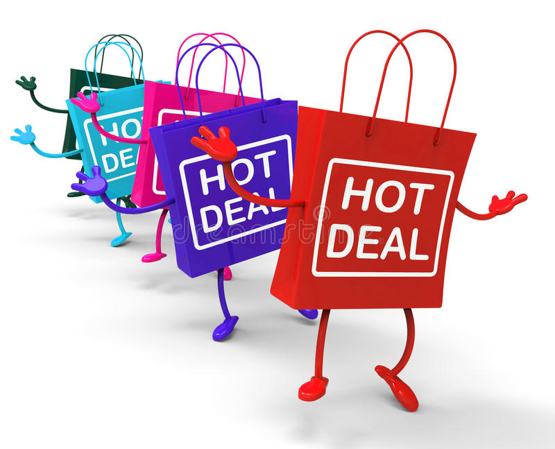 Hot Deal Bag that Shows Sales, Bargains, and Deals. Hot Deal Bags Showing Sales, Bargains, and Deals stock illustration
