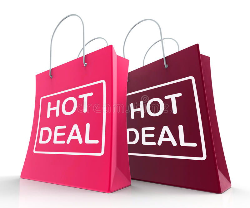 Hot Deal Bags Show Shopping Discounts and Bargains. Hot Deal Bags Showing Shopping Discounts and Bargains royalty free illustration