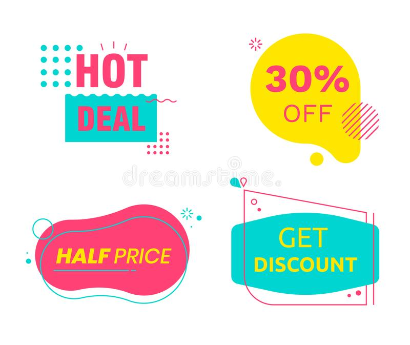 Hot Deal Sale Set of Tags Icons and Signs with Typography for Half Price Offer. Cards Banners or Logo vector illustration
