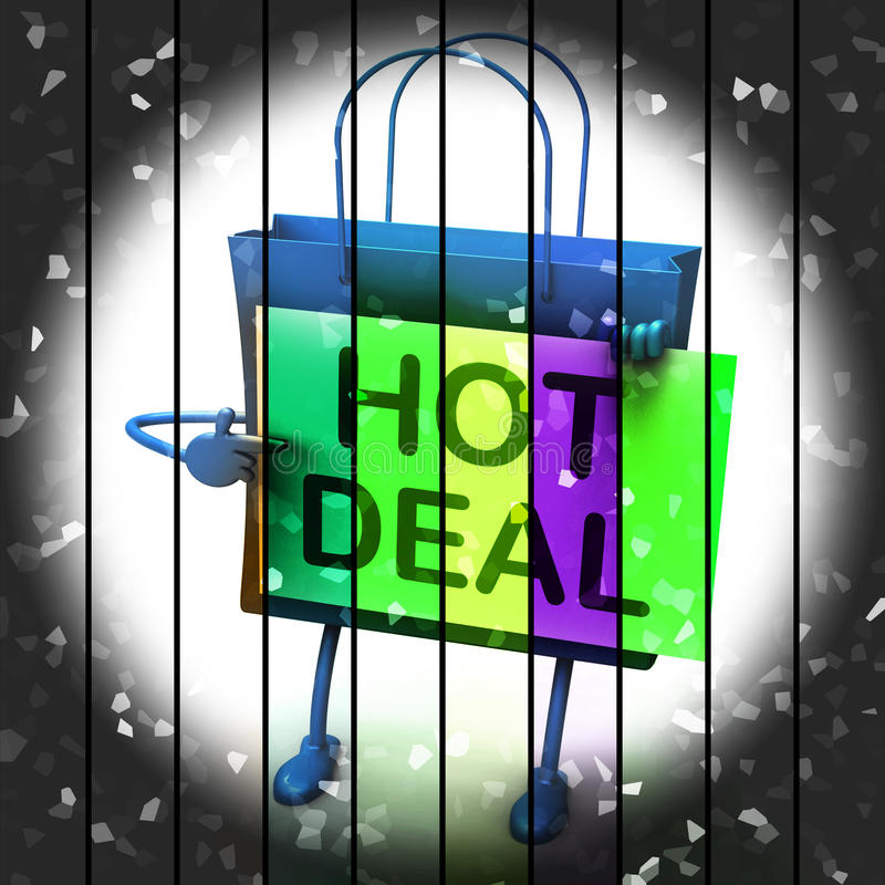 Hot Deal Shopping Bag Represents Bargains and Discounts. IHot Deal Shopping Bag Represents Bargains and Discounts stock illustration