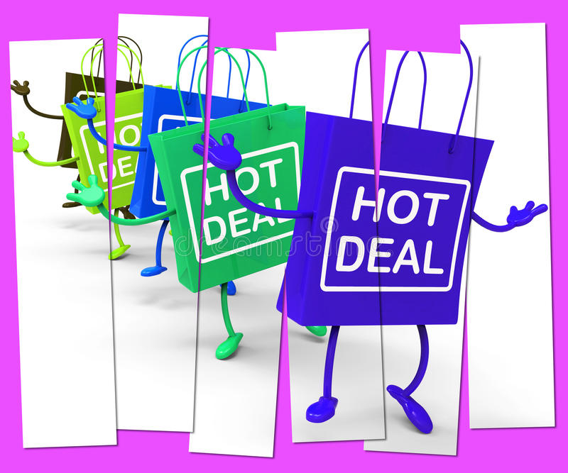 Hot Deal Shopping Bag that Shows Sales, Bargains, and Deals. Hot Deal Shopping Bags Showing Sales, Bargains, and Deals royalty free illustration