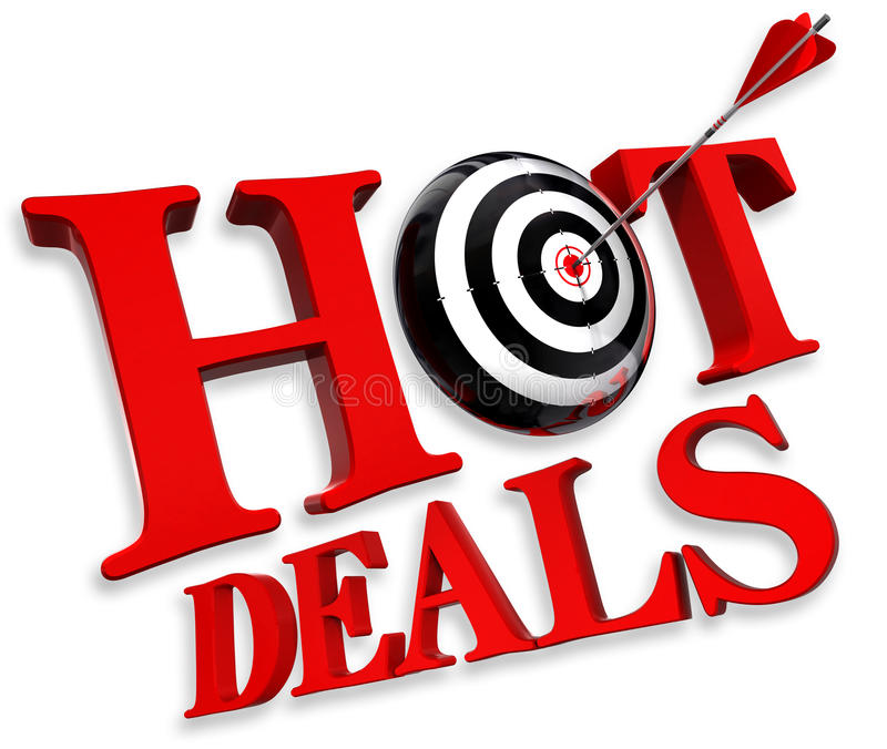 Hot deals red logo stock image