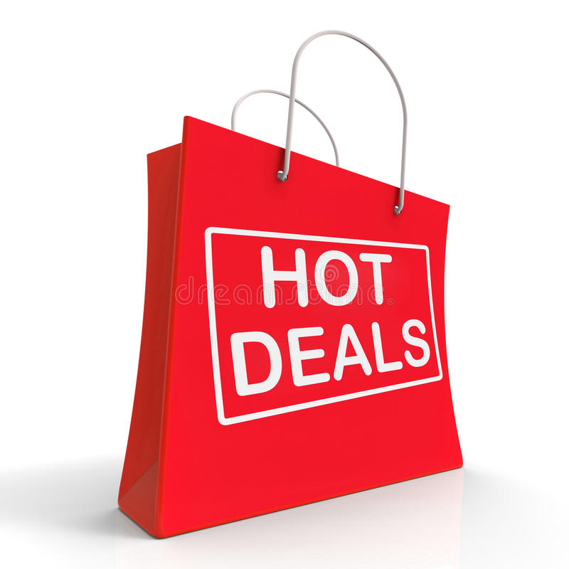Hot Deals On Shopping Bags Shows Bargains Sale. Hot Deals On Shopping Bags Showing Bargains Sale And Save royalty free illustration