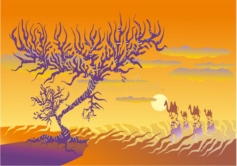 Download Hot desert stock vector. Image of desert, sand, camels - 14770751