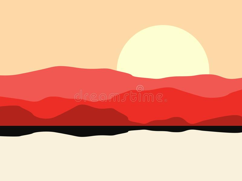 Hot desert landscape with a mountain silhouette. Panoramic landscape with hills. Vector stock illustration