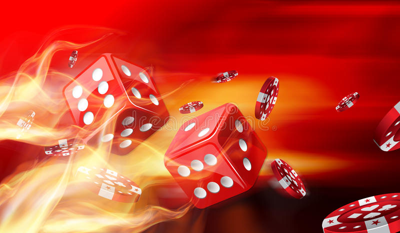 Hot dice game and Gambling chips flying royalty free stock images
