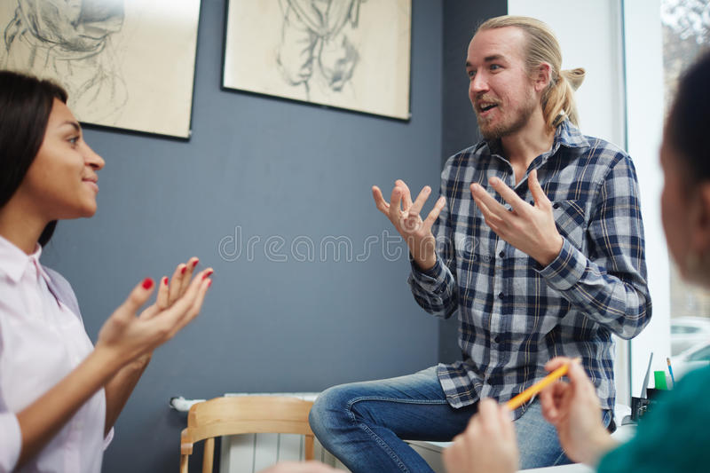 Hot discussion stock photo