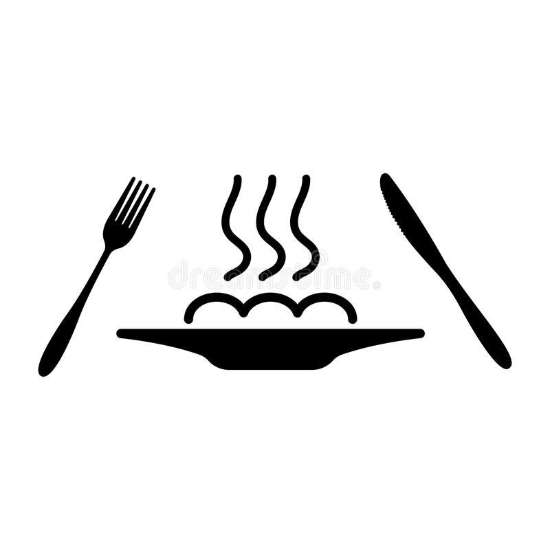 Hot dish on plate, fork and knife vector icon. cutlery isolated on white background stock illustration